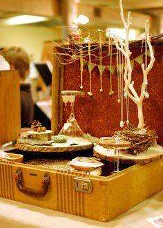 wonderful suitcase display #merchandising #display #vignette #jewelry