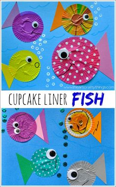 Cupcake Liner Fish Craft -- Simple and fun craft for toddlers and preschoolers. #oceancrafts #fish www.iheartcraftythings.com