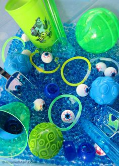 #Halloween Monster Eyes #Sensory Play Bin - #Sponsored by #MonstersU - B-InspiredMama.com
