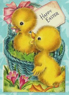 Vintage Easter Greeting Cards | Vintage Easter Greeting Card Two Yellow Chicks