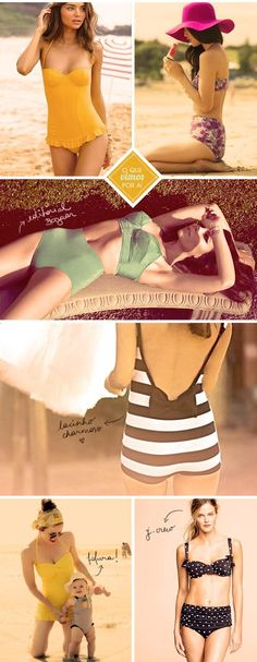 Vintage style suits #swimsuits #beach #summer #vintage #bikini #bathingsuit #60s #70s #throwback #different #original