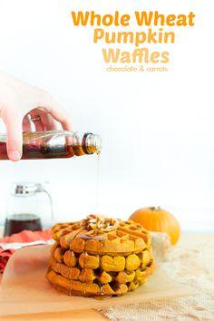 Whole Wheat Pumpkin Waffles   chocolateandcarrots.com