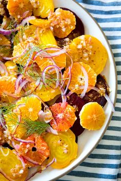 Lots of conversation here lately about how to bring color to your table. How about trying on this beet and blood orange salad for some color!