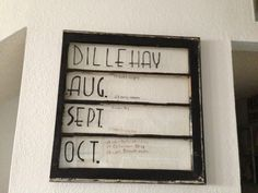 Old window turned into a schedule . I love that I can change it when ever and however I want.