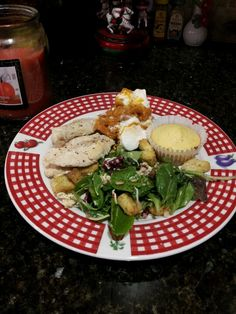 Dinner tonight. Spring salad w fresh red walnuts Italian dressing cheese and croutons. Lemon pepper chicken. Sweet potatoes w cinnamon.  Marie callender corn muffins. yum