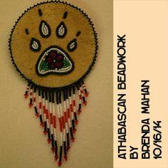 Athabascan beadwork by Brenda Mahan, 10/16/14, from Galena, Alaska, small barrette on moosehide