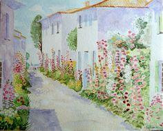 Maisons en fleurs (roses trémières)