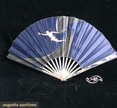 c1901 Art Nouveau fan, silver sticks with silk fabric