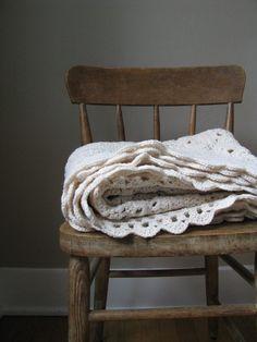 vintage handmade crochet knit blanket