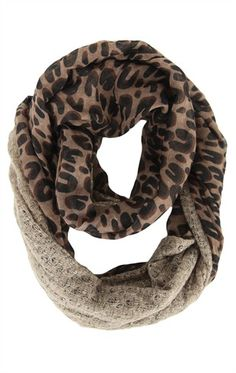 Deb Shops #Infinity Scarf with #Leopard Print and Lurex Sweater Knit Trim  $15.90