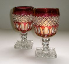 2 Vintage Westmoreland Wakefield Ruby Flashed Water by borahstyle, $50.00