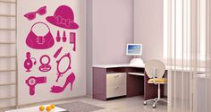 Girls unite! This pack of removable wall decals includes everything a lady needs:  shoe, purse, hat, sunglasses, perfume, blow-dryer, mirror, make-up, a hair comb and nail polish. Decorate your space with this super feminine mix and match set. Starts at $38.