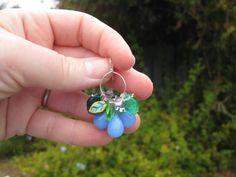 Periwinkle glass bead earrings sterling pink by seafairiesbooty