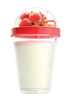 healthi snack, idea, yogurt cup, red reusabl, cups