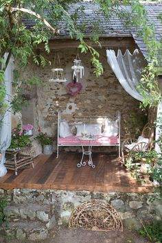 country porches, curtains, dream, vintage, gardens, nook, tiny spaces, patios, shabby chic garden