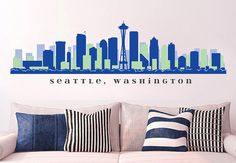 "NFL SEATTLE SEAHAWKS Skyline Team Wall Decal Washington Art Vinyl Peel n Stick up to 70"" x 18"" College Dorm Office Business Decor City on Etsy, $29.99"