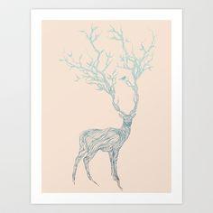 Blue+Deer+Art+Print+by+Huebucket+-+$22.88