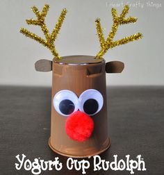 I HEART CRAFTY THINGS: Cute Yogurt Cup Rudolph Reindeer Craft - #Christmas