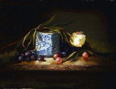 Peony & Blue by Christine Hooker Oil ~ 9 x 12