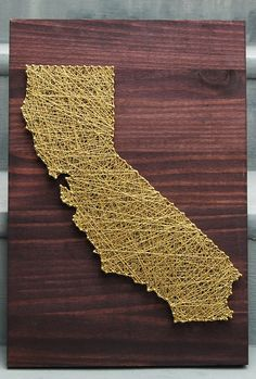 string art decor, idea, crafti, diy gift, california, map, nail arts, string art, art projects