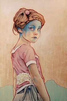 """""""Within White"""" -  Michael Shapcott, graphite, acrylic, oil on canvas {contemporary figurative artist female standing girl mixed-media painting}"""