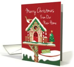 Christmas We've Moved. Cute Festive Birdhouse with Two Robins. card by Carol Kearns
