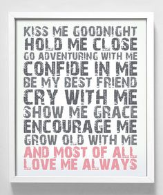 kiss, idea, alway, inspir, love quotes, print, bedroom, thing, vow