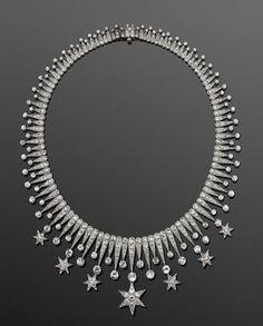 Diamond Stars Fringe Necklace, American, Circa 1900