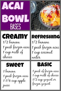 Acai bowl bases, combos + how to make an acai bowl at home. These are an amazing summer snack or meal, but can cost around $8. make them for much less at home!