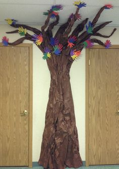Our new full size classroom friendship tree... blooming with handprints of students and staff :)