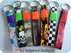 Duck Tape Keychains. These are now available in my etsy shop. www.etsy.com/shop/AJInspiredDesigns   'Like' me on facebook to receive updates on new products! www.facebook.com/AJInspiredDesigns  $2.50