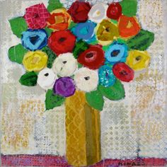 Southern Bouquet 36x36 mixed media Atelier Galleries  843-722-5668