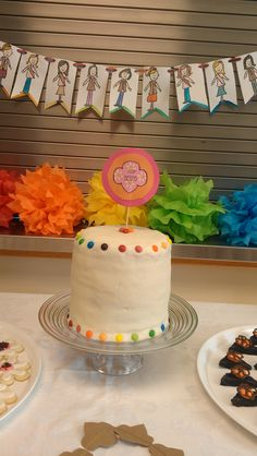 Girl Scout Bridging Ceremony Rainbow Cake and Watercolor Portrait Garland.