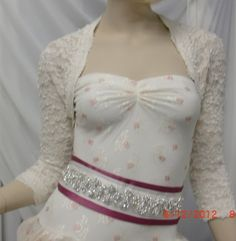 BRIDAL SHRUG Bolero Stretch Lace with Nude Lining in Ivory or White. $85.00, via Etsy.