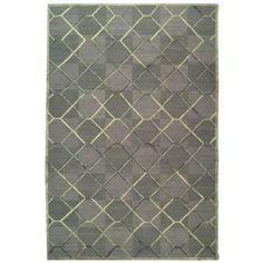 David Easton Paro Grid Grey Taupe Wool Silk Rug