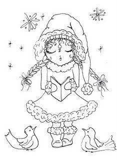singing girl in winter - FREE digi stamp