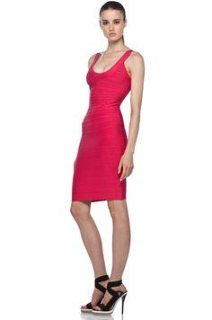 HERVE LEGER U Neck Dress in Fuchsia Berry