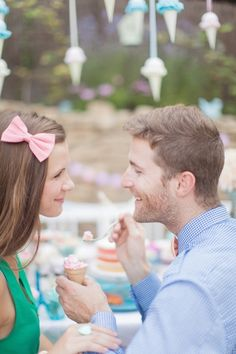 ice cream, pretty bows and one adorable couple!