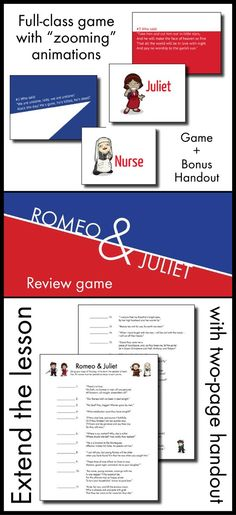 "Throw out the tired review games and dazzle your class with this Prezi, where you'll ""zoom"" from question-to-answer with slick animations and adorable images of Romeo, Juliet, and all the supporting players. Your students won't even realize they're prepping for their end-of-unit exam on Shakespeare's Romeo & Juliet because they'll be so excited to see the next question."