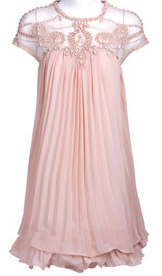 Light Pink Short Sleeve Lace Pleated Chiffon Dress - Sheinside.com