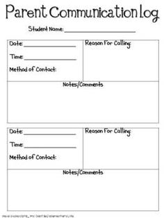 Parent Communication Forms Freebie. Repinned by SOS Inc. Resources @SOS Inc. Resources.