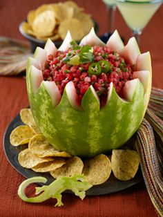 Watermelon carving is so much fun especially when you can carve Watermelon Salsa Bowl! Simply follow the instructions and gather the necessary materials and lets get started carving watermelons!