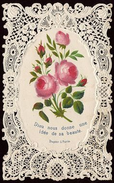 ephemera, estampa, vintage lace, vintag card, art, holi card, vintag flower, lace card, vintag lace