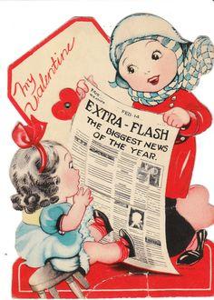 Vintage Valentine Card Girls Newspaper Mechanical 1940s Die Cut