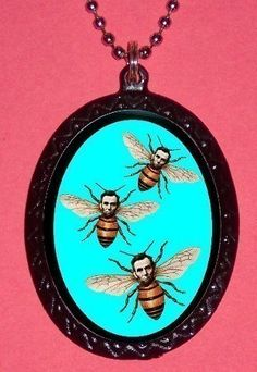 Abraham Lincoln Honey Bee Lowbrow Pop Surreal Altered Art Weird Pendant Necklace. $7.00, via Etsy.