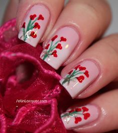Valentine's Day nail art - bouquet of hearts (by Set In Lacquer) #nailart #nails #fingernails