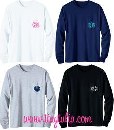 tinytulip.com - Long Sleeve Monogrammed T Shirt, $28.50 (http://www.tinytulip.com/long-sleeve-monogrammed-t-shirt)