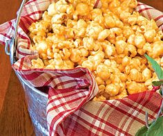 caramel popcorn from recipe.com - Homemade caramel corn is a revelation compared to the stale boxed kind. Baking it in the caramel syrup is a much more effective (and safer) way to flavor the popcorn than trying to mix popcorn and hot syrup with your hands. Remember this recipe come winter! It makes a nice teacher present.