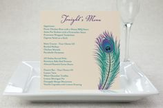 Square Menu Cards - Peacock Pizzazz | MagnetStreet