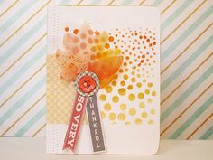 So Very Thankful card - Scrapbook.com- colorful mists really add to theme.